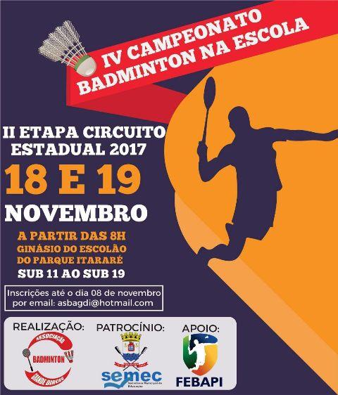 Badminton, competição, sucesso, promete, Estadual, Circuito, agitar, atividade, atletas, etapas, mantê-los, edição, anteriores, feito, Escola, entra, Confirmando